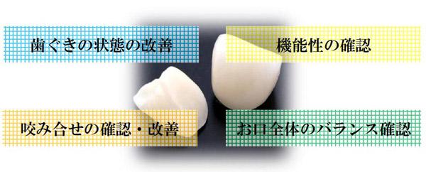 歯茎の状態確認 機能性の確認 噛み合わせの確認・改善 お口のバランス確認